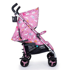 Cosatto Supa 3 Stroller (Dusky Unicorn Land) - side view, shown here with its seat fully reclined