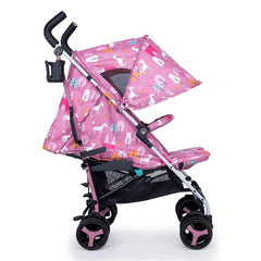 Cosatto Supa 3 Stroller (Dusky Unicorn Land) - side view, shown here with its hood fully extended and leg rest raised