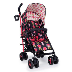 Cosatto Supa 3 Stroller (Fairy Garden Daisy) - quarter view, showing the pushchair seat and its red safety harness