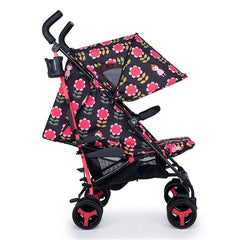 Cosatto Supa 3 Stroller (Fairy Garden Daisy) - side view, shown here with its hood fully extended and leg rest raised