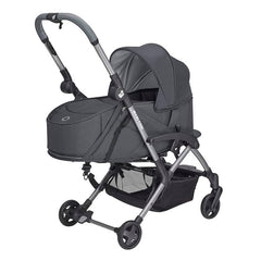 Maxi-Cosi Laika Soft Carrycot (Essential Graphite) - quarter view, showing the carrycot fitted onto the Laika 2 (stroller not included, available separately)