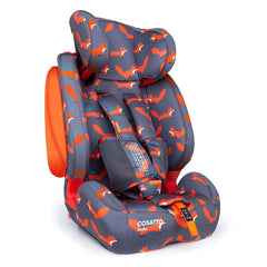 Cosatto Judo Group 123 ISOFIX Car Seat (Mister Fox) - quarter view, showing the anti-escape 5-point safety harness