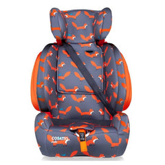 Cosatto Judo Group 123 ISOFIX Car Seat (Mister Fox) - front view, shown here without the 5-point harness and using a 3-point car seat belt