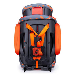Cosatto Judo Group 123 ISOFIX Car Seat (Mister Fox) - rear view, showing the top tether strap and the headrest raised