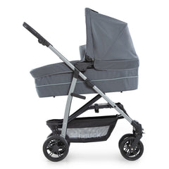 Hauck Rapid 4 Plus Trio Set Travel System (Grey/Mint) - side view, showing the carrycot and chassis in use as a pram
