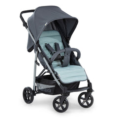 Hauck Rapid 4 Plus Trio Set Travel System (Grey/Mint) - quarter view, showing the forward-facing stroller