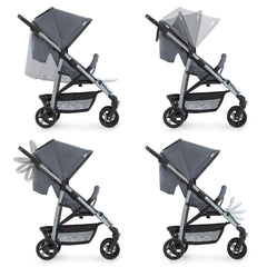 Hauck Rapid 4 Plus Trio Set Travel System (Grey/Mint) - side view, showing the adjustability of the seat, hood, handlebar and leg rest