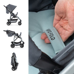 Hauck Rapid 4 Plus Trio Set Travel System (Grey/Mint) - side view, showing the stroller`s rapid folding action