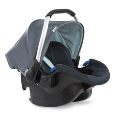Hauck Comfort Fix 0+ Car Seat (Grey/Mint) - quarter view, shown with its canopy raised