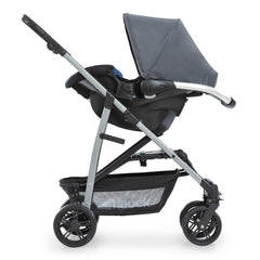 Hauck Rapid 4 Plus Trio Set Travel System (Grey/Mint) - side view, showing the car seat fixed onto the chassis