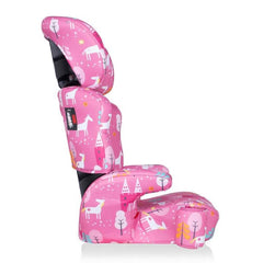 Cosatto Ninja Group 2/3 Car Seat (Candy Unicorn Land) - side view, showing the seat`s arm rests