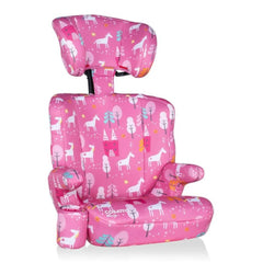 Cosatto Ninja Group 2/3 Car Seat (Candy Unicorn Land) - quarter view, showing the seat with its headrest raised