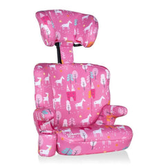 Cosatto Ninja Group 2/3 Car Seat (Candy Unicorn Land) - quarter view, showing the seat with its headrest fully raised