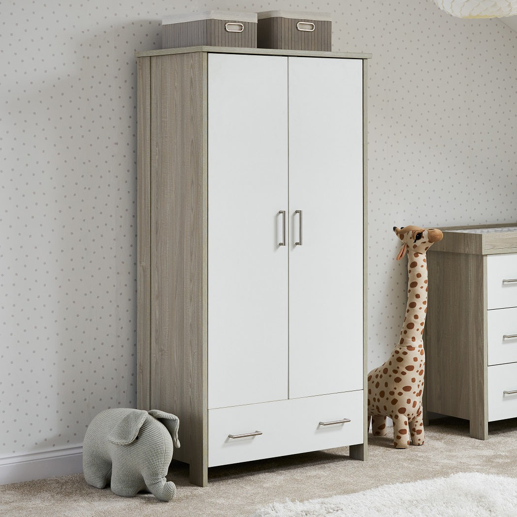 Obaby Nika Double Wardrobe (Grey Wash & White)