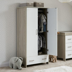 Obaby Nika Double Wardrobe (Grey Wash & White) - lifestyle image, showing the internal hanging rails (clothes and accessories not included)