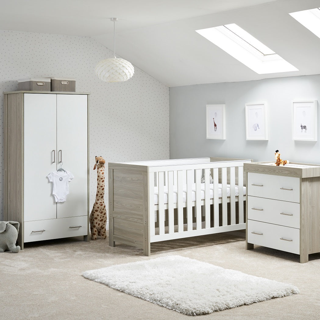 Obaby Nika 3 Piece Room Set (Grey Wash & White)