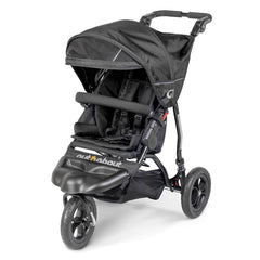 Out n About GT Single Pushchair (Raven Black) - quarter view, showing the pushchair with its hood extended and sun visor lowered