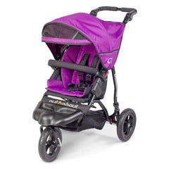 Out n About GT Single Pushchair (Purple Punch) - quarter view, showing the pushchair with its hood extended and visor lowered