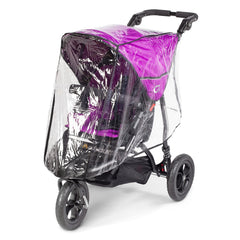 Out n About GT Single Pushchair (Purple Punch) - quarter view, showing the pushchair with the included raincover