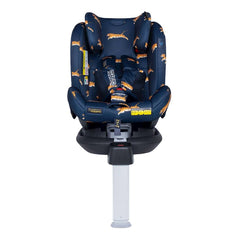 Cosatto All In All Rotate ISOFIX Car Seat - Group 0+123 (On The Prowl) - front view, shown here without the newborn liner, forward-facing and with the headrest raised