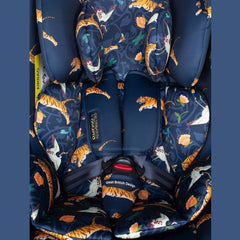Cosatto All In All Rotate ISOFIX Car Seat - Group 0+123 (On The Prowl) - close view, showing the colourful print and the 5-point safety harness