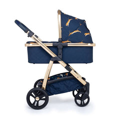 Cosatto Wow Pram & Accessories Bundle - Paloma Faith (On The Prowl) - side view, showing the carrycot and chassis together as the pram