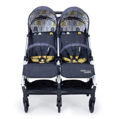 Cosatto Woosh Double Stroller (Fika Forest) - front view, showing the bumper bars and coloured safety harnesses