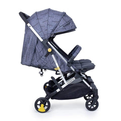 Cosatto Woosh Double Stroller (Fika Forest) - side view, shown here with the seats fully reclined, the leg rests raised and the hoods extended