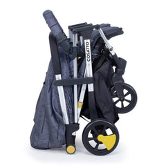 Cosatto Woosh Double Stroller (Fika Forest) - side view, showing the chassis folded and free-standing