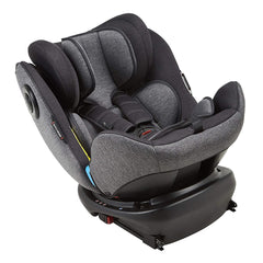 MyChild Chadwick ISOFIX Car Seat - Group 0123 (Black/Grey) - quarter view, showing the seat reclined in rear-facing mode