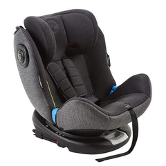 MyChild Chadwick ISOFIX Car Seat - Group 0123 (Black/Grey) - quarter view, showing the seat in forward-facing mode and without the newborn insert cushion