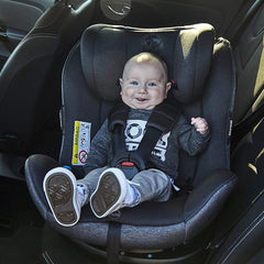 MyChild Chadwick ISOFIX Car Seat - Group 0123 (Black/Grey) - lifestyle image, showing the seat rotated towards open doorway