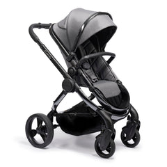 iCandy Peach Phantom Pushchair & Carrycot 2020 (Dark Grey Twill) - quarter view, showing the pushchair in forward-facing mode