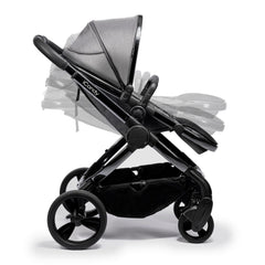 iCandy Peach Phantom Pushchair & Carrycot (Dark Grey Twill) - side view, shown forward-facing illustrating the seat`s various positions