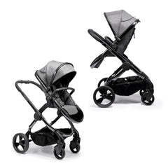 iCandy Peach Phantom Pushchair & Carrycot (Dark Grey Twill) - showing the pushchair in both parent and forward-facing modes with the seat unit shown raised on the elevators