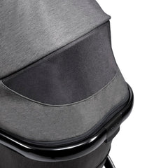 iCandy Peach Phantom Pushchair & Carrycot (Dark Grey Twill) - close view, showing the canopy`s mesh ventilation panel