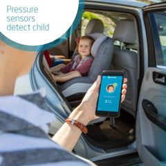 Maxi-Cosi e-Safety Cushion (Black) - showing the app in use on parent`s smartphone