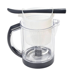 BEABA Babycook Solo (Dark Grey) - showing the glass bowl with its graduated measurements, the cooking basket and the included spatula