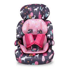 Cosatto Zoomi Group 123 Car Seat (Unicorn Land) - front view, shown here with its reversible seat liner