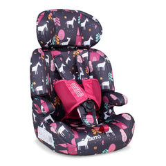 Cosatto Zoomi Group 123 Car Seat (Unicorn Land) - quarter view, shown here without the liner