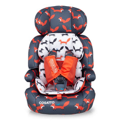 Cosatto Zoomi Group 123 Car Seat (Charcoal Mister Fox) - front view, shown here with its reversible seat liner