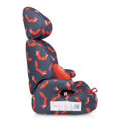 Cosatto Zoomi Group 123 Car Seat (Charcoal Mister Fox) - side view, showing the illustrated seat belt guide