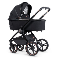 Venicci Tinum 3-in-1 Travel System (Stylish Black SE) - showing the carrycot and chassis together as the pram