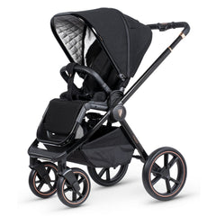 Venicci Tinum 3-in-1 Travel System (Stylish Black SE) - showing the seat unit and chassis together as the pushchair in forward-facing mode