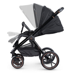 Venicci Tinum 3-in-1 Travel System (Stylish Black SE) - showing the pushchair`s adjustable hood, seat and leg rest