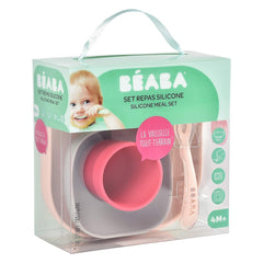 BEABA Silicone Meal Set (Pink) - showing the set within its packaging