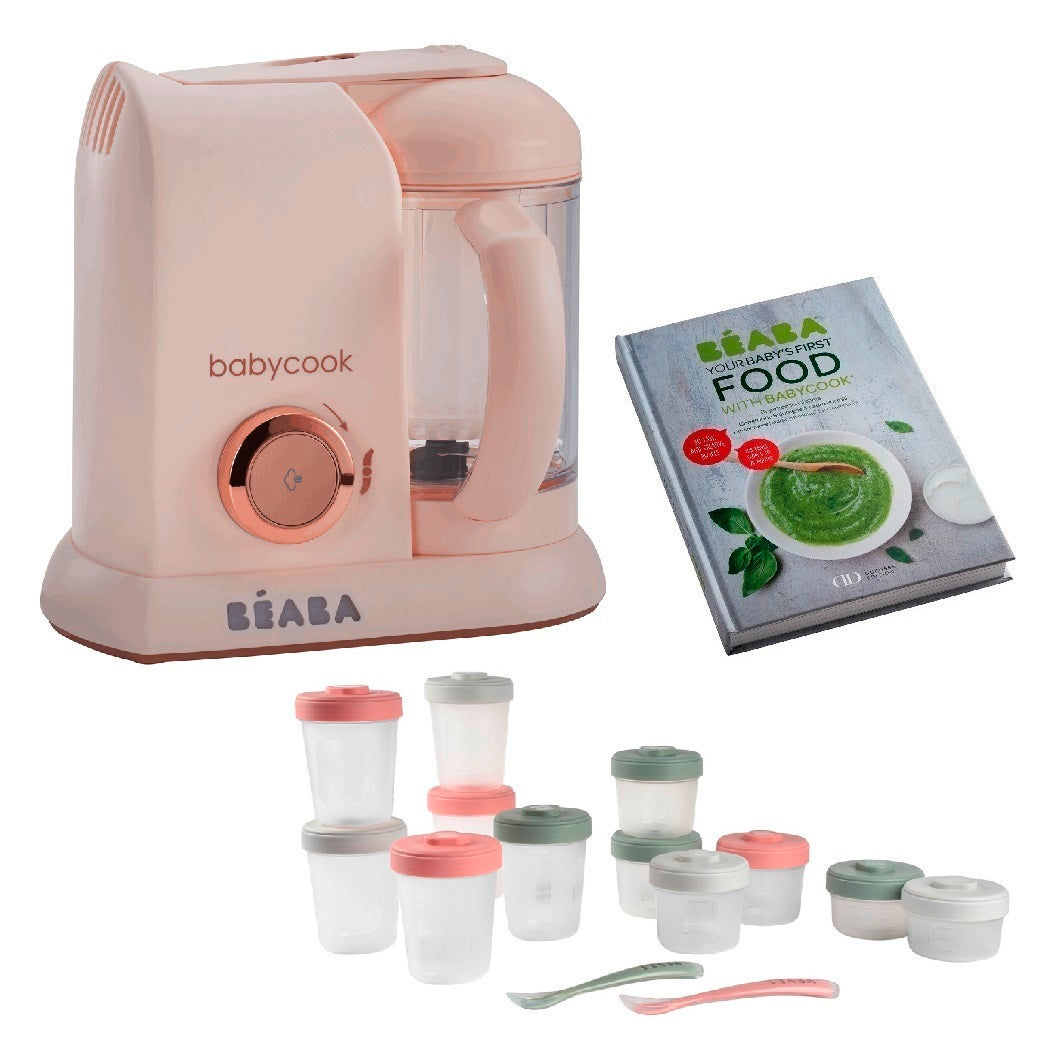 BEABA Solo 4-in-1 Babyfood Maker Bundle with Weaning Accessories (Rose Gold)