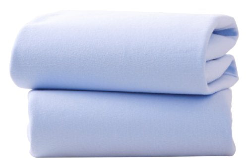 Clair De Lune Fitted Sheets for Pram/Crib Sheets - Pack of 2 (Blue) 90x40cm