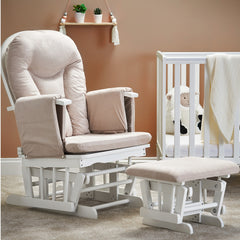 Obaby Reclining Glider Chair & Stool (White with Sand) - lifestyle image (cot, bedding and accessories not included)
