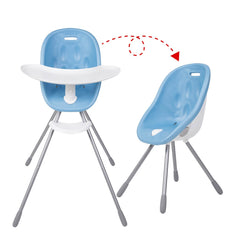 Poppy High Chair by Phil and Teds - Bubblegum Blue shown in both configurations